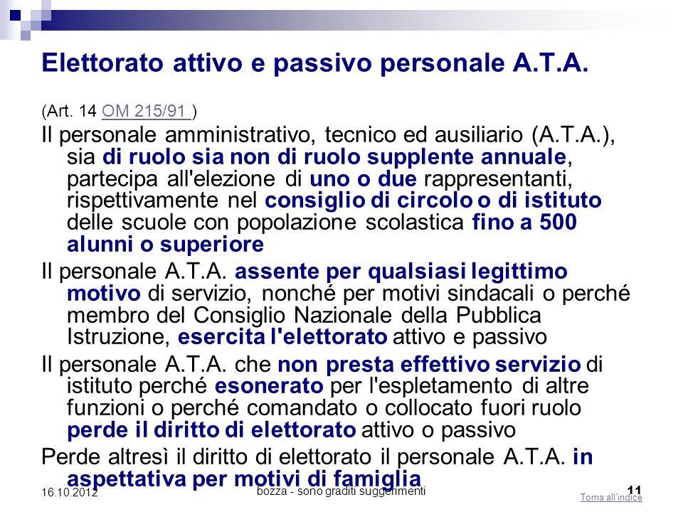 Elettorato attivo e passivo personale A.T.A.