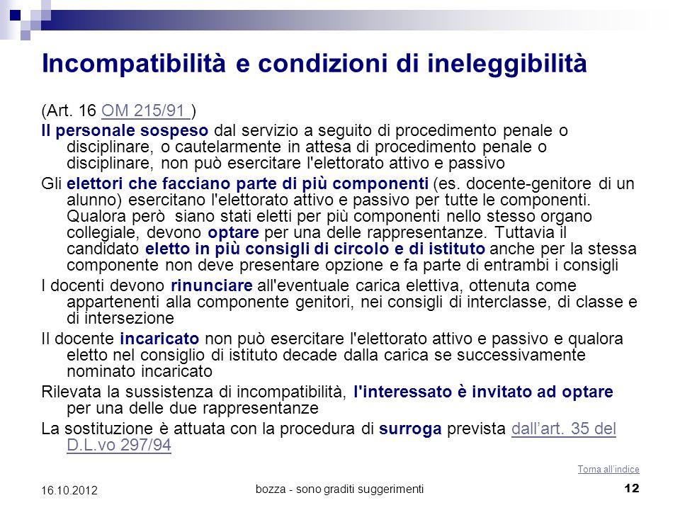 Incompatibilità e condizioni di ineleggibilità