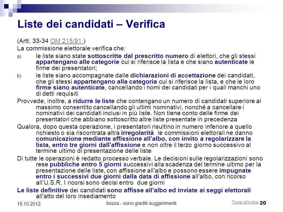 Liste dei candidati – Verifica