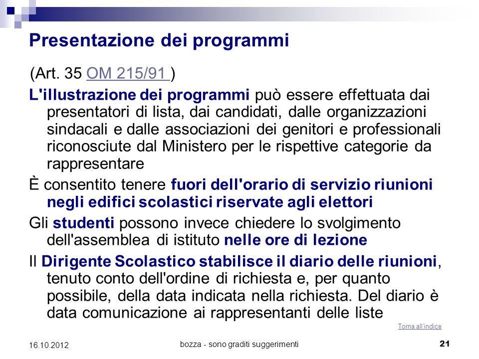 Presentazione dei programmi