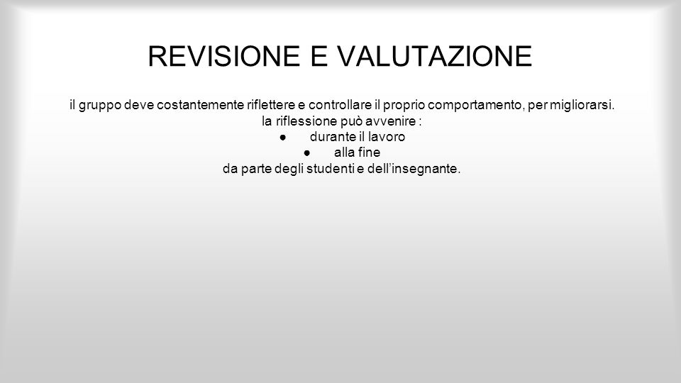 REVISIONE E VALUTAZIONE