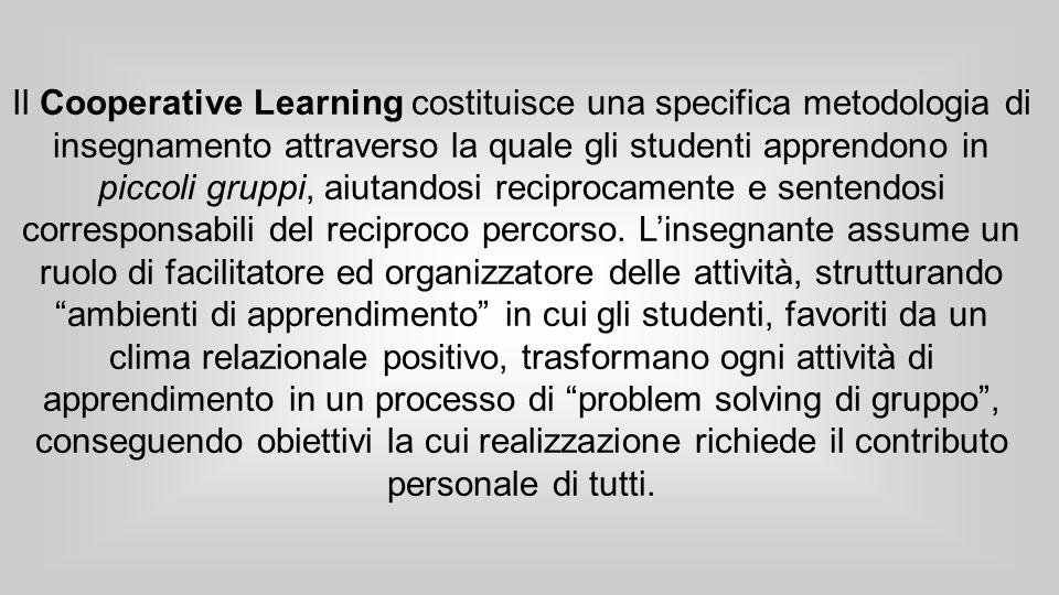 Il Cooperative Learning costituisce una specifica metodologia di insegnamento attraverso la quale gli studenti apprendono in piccoli gruppi, aiutandosi reciprocamente e sentendosi corresponsabili del reciproco percorso.