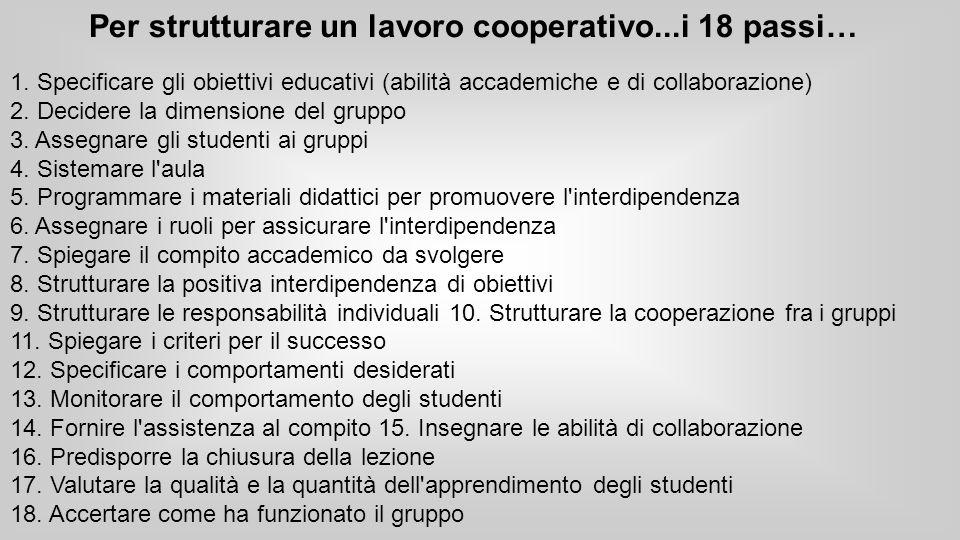 Per strutturare un lavoro cooperativo...i 18 passi…