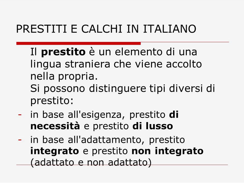 PRESTITI E CALCHI IN ITALIANO