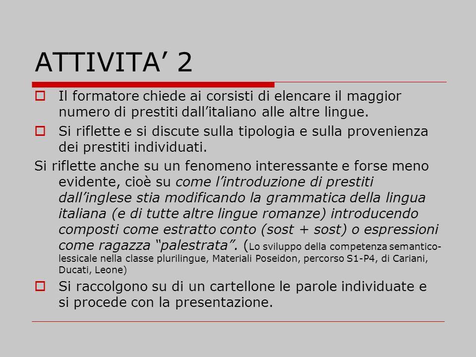 ATTIVITA' 2 Il formatore chiede ai corsisti di elencare il maggior numero di prestiti dall'italiano alle altre lingue.