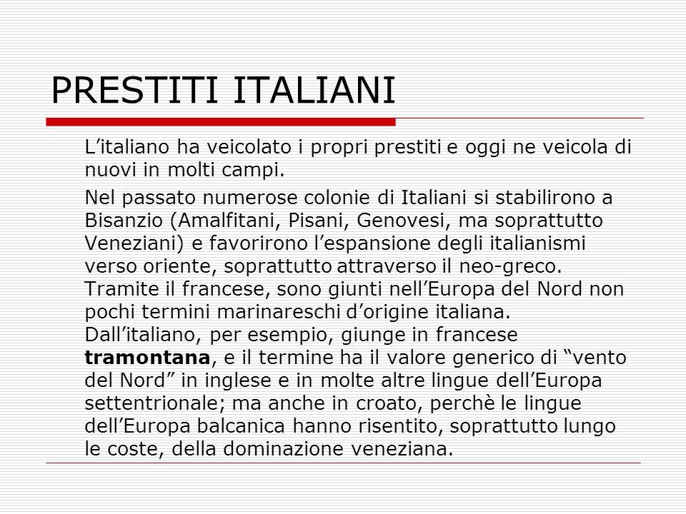 PRESTITI ITALIANI L'italiano ha veicolato i propri prestiti e oggi ne veicola di nuovi in molti campi.