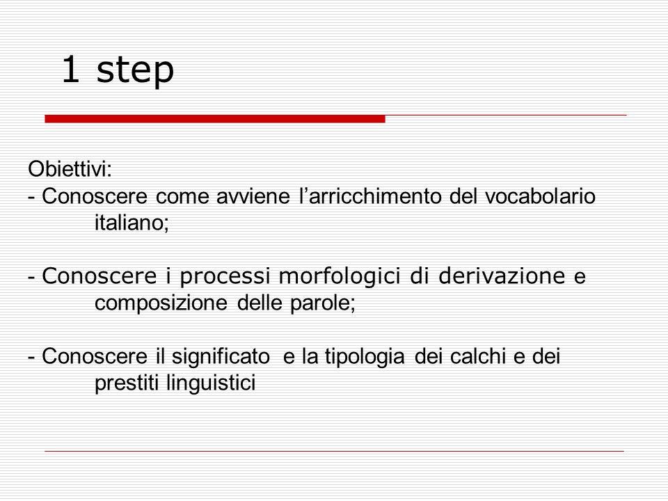 1 step Obiettivi: Conoscere come avviene l'arricchimento del vocabolario italiano;