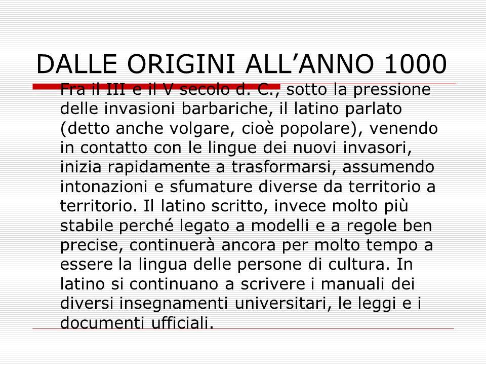 DALLE ORIGINI ALL'ANNO 1000