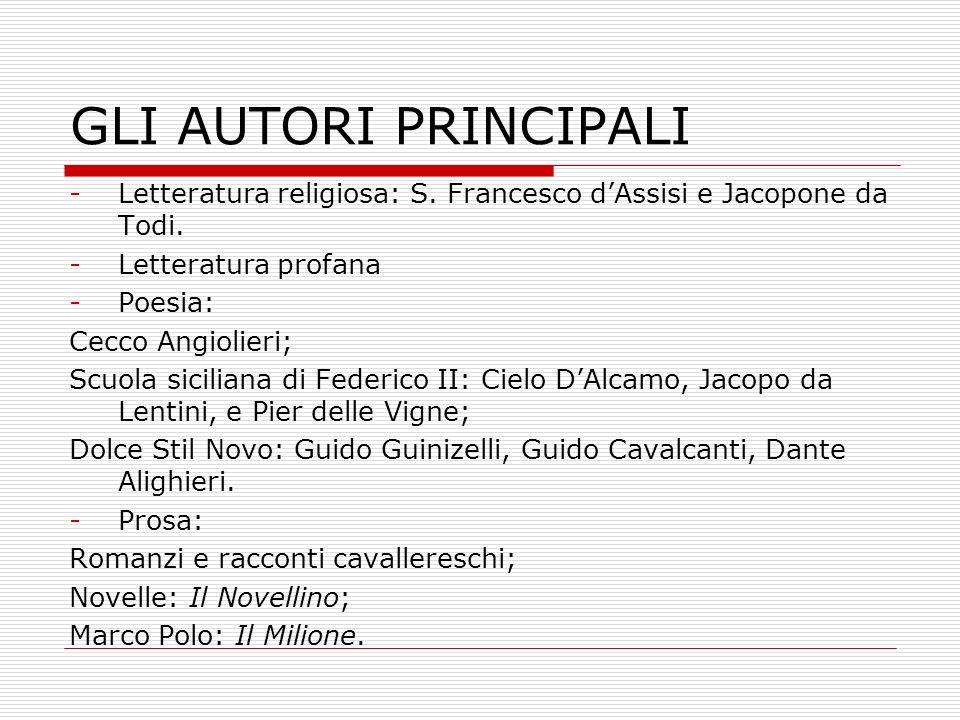 GLI AUTORI PRINCIPALI Letteratura religiosa: S. Francesco d'Assisi e Jacopone da Todi. Letteratura profana.
