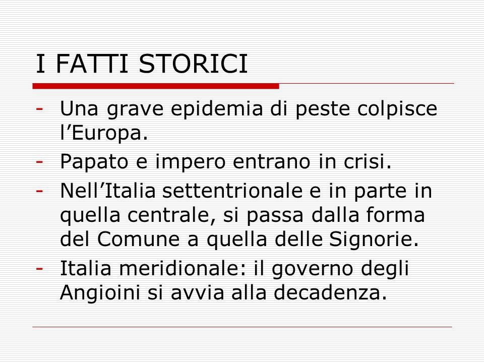 I FATTI STORICI Una grave epidemia di peste colpisce l'Europa.