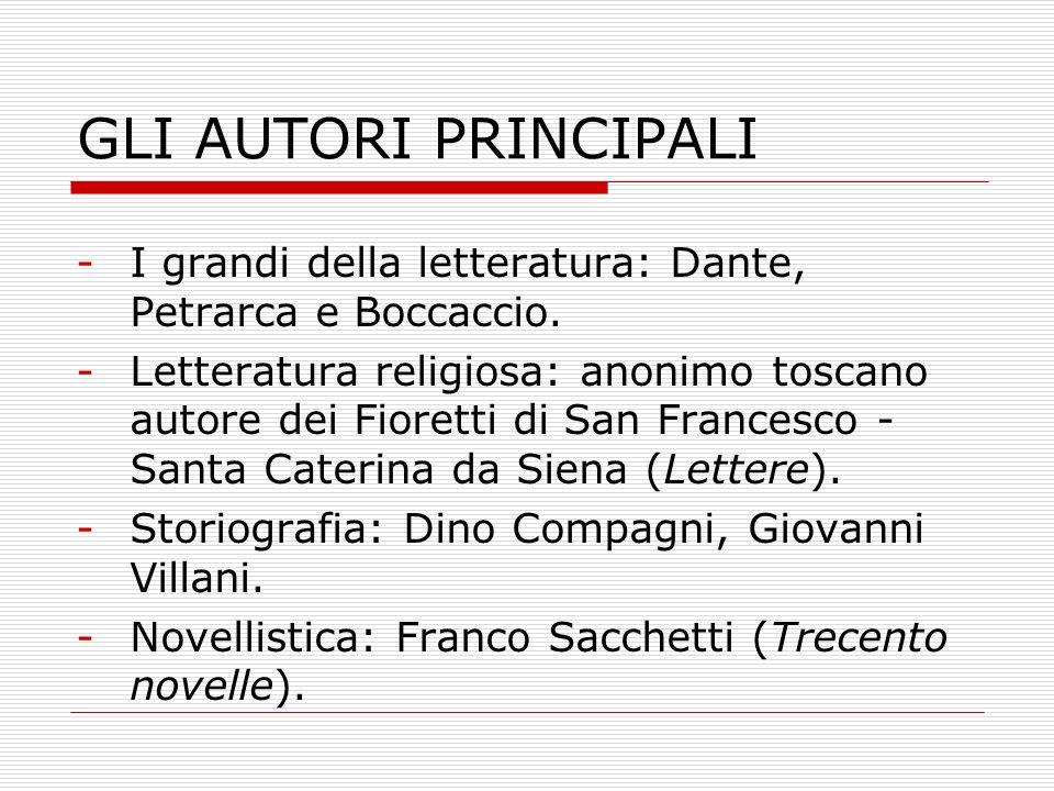 GLI AUTORI PRINCIPALI I grandi della letteratura: Dante, Petrarca e Boccaccio.