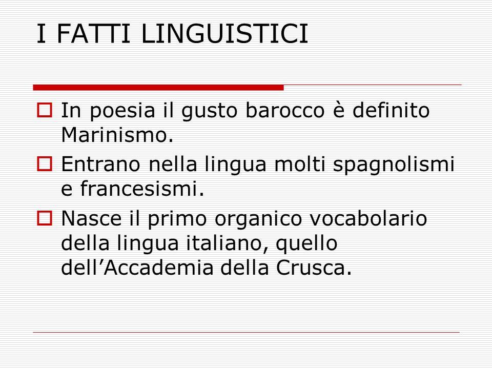 I FATTI LINGUISTICI In poesia il gusto barocco è definito Marinismo.