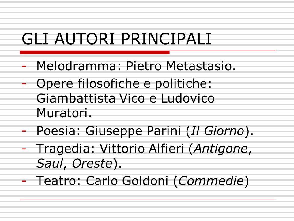 GLI AUTORI PRINCIPALI Melodramma: Pietro Metastasio.