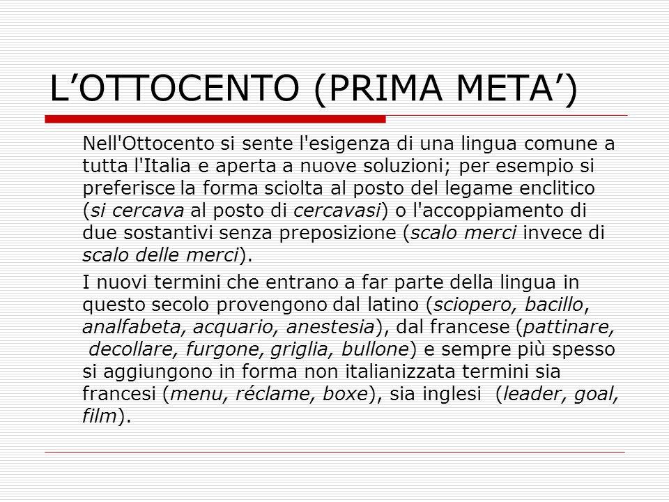 L'OTTOCENTO (PRIMA META')