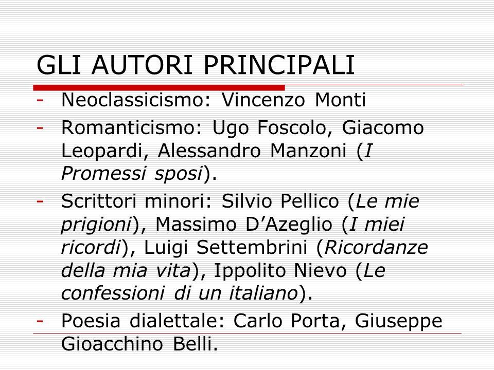 GLI AUTORI PRINCIPALI Neoclassicismo: Vincenzo Monti