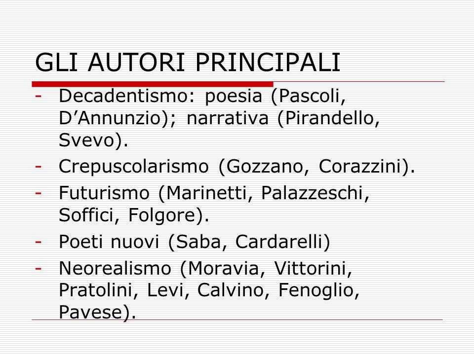 GLI AUTORI PRINCIPALI Decadentismo: poesia (Pascoli, D'Annunzio); narrativa (Pirandello, Svevo). Crepuscolarismo (Gozzano, Corazzini).