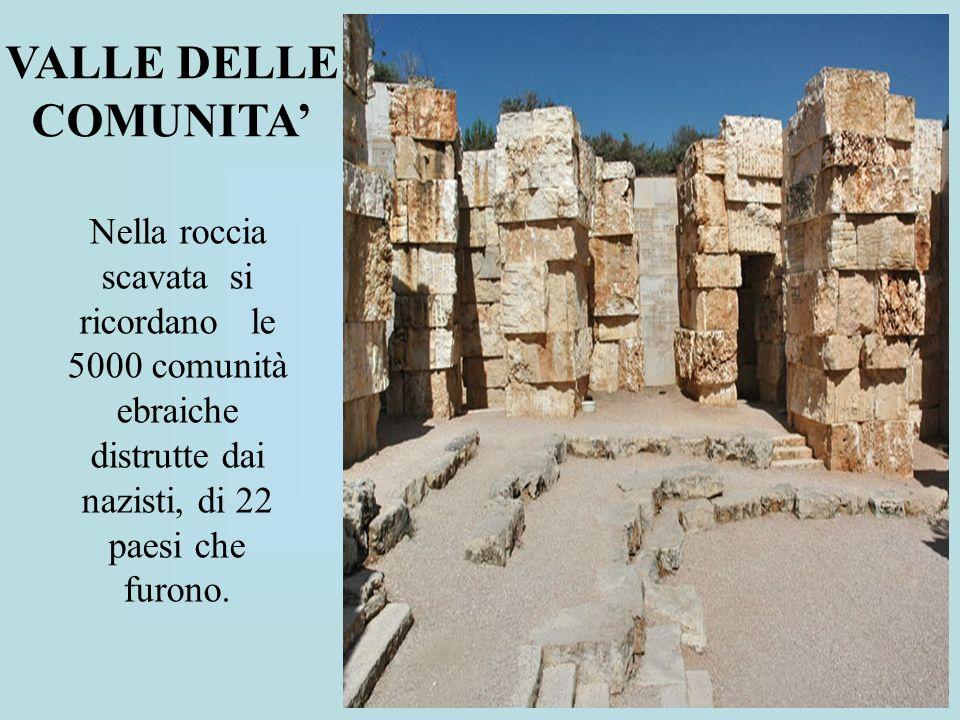 VALLE DELLE COMUNITA' Nella roccia scavata si ricordano le 5000 comunità ebraiche distrutte dai nazisti, di 22 paesi che furono.