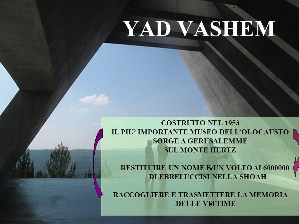 YAD VASHEM COSTRUITO NEL 1953 IL PIU' IMPORTANTE MUSEO DELL'OLOCAUSTO