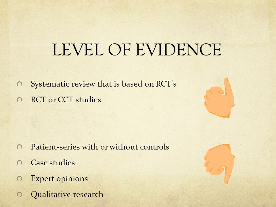 LEVEL OF EVIDENCE Systematic review that is based on RCT s