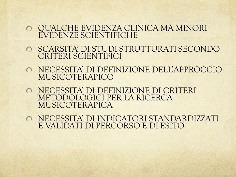 QUALCHE EVIDENZA CLINICA MA MINORI EVIDENZE SCIENTIFICHE
