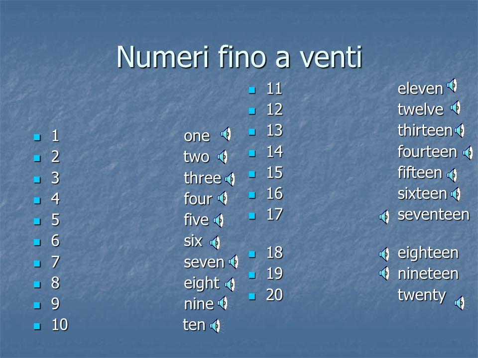 Numeri fino a venti 11 eleven 12 twelve 13 thirteen 14 fourteen 1 one