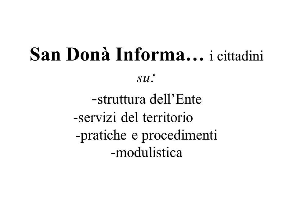 San Donà Informa… i cittadini su: -struttura dell'Ente -servizi del territorio -pratiche e procedimenti -modulistica