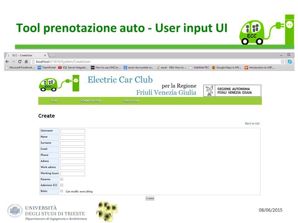Tool prenotazione auto - User input UI