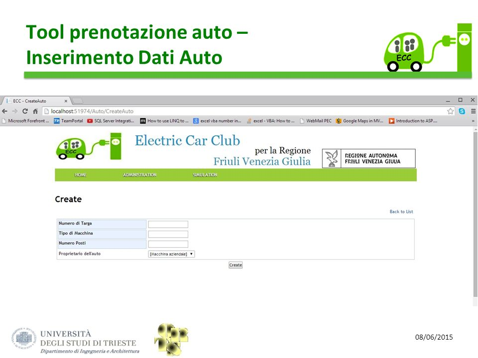 Tool prenotazione auto – Inserimento Dati Auto
