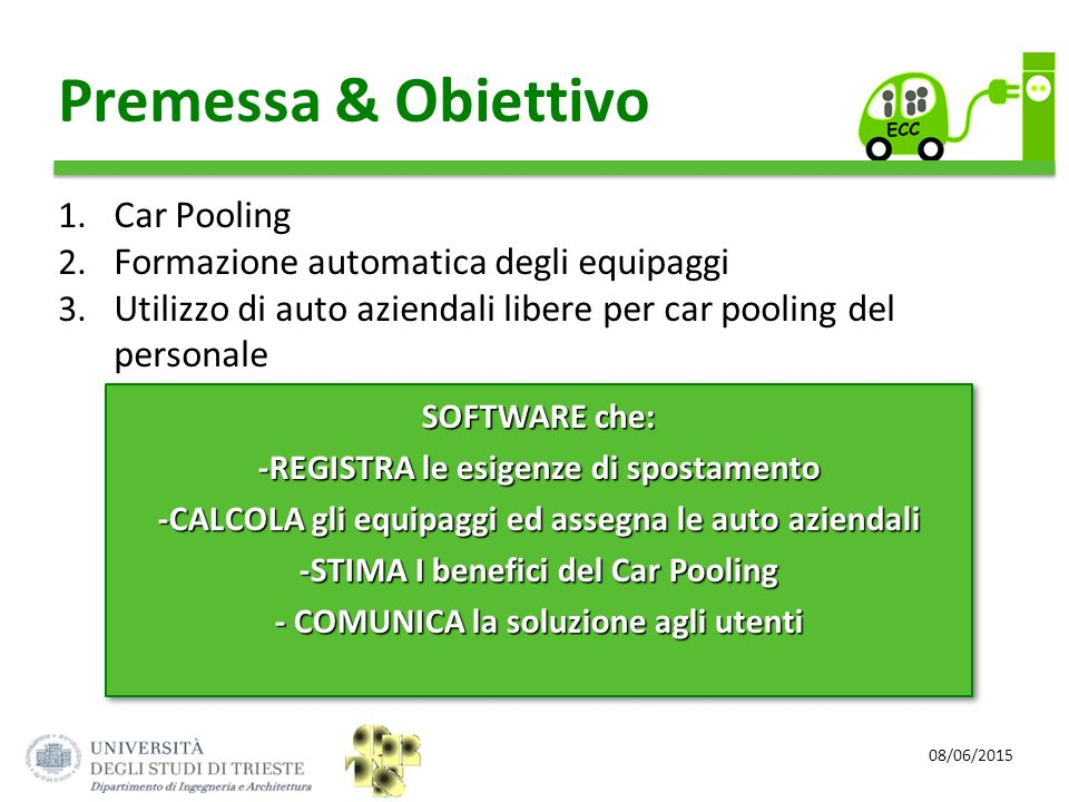 Premessa & Obiettivo Car Pooling Formazione automatica degli equipaggi