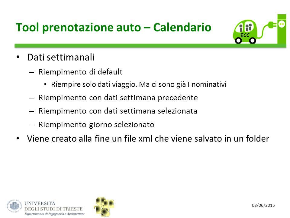Tool prenotazione auto – Calendario