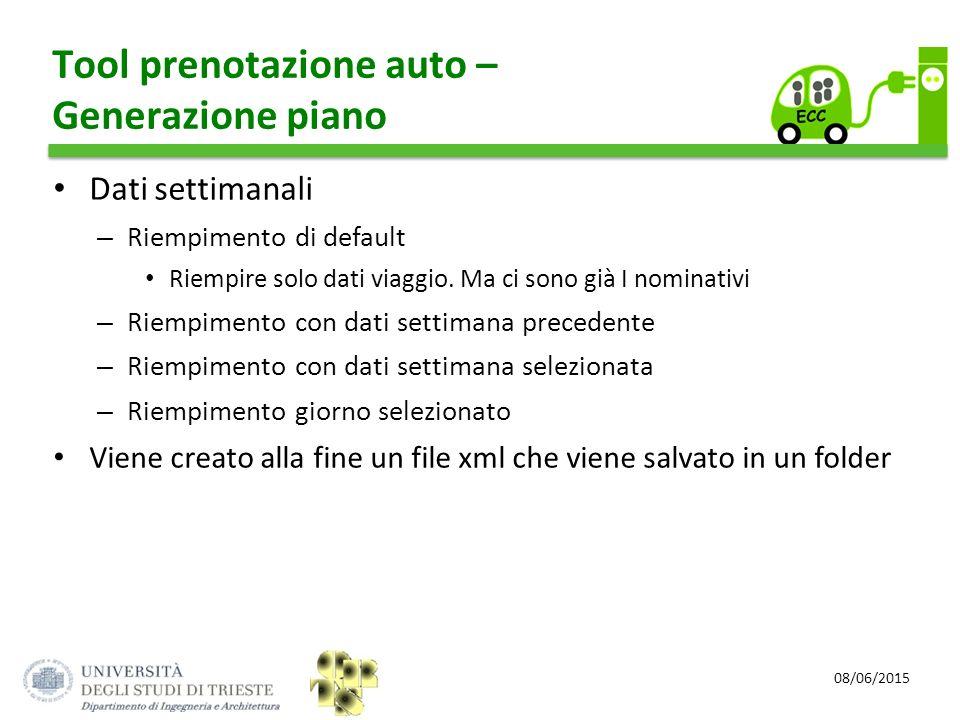 Tool prenotazione auto – Generazione piano