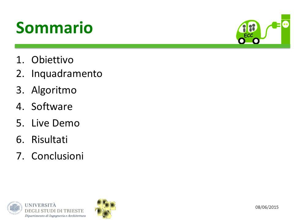 Sommario Obiettivo Inquadramento Algoritmo Software Live Demo