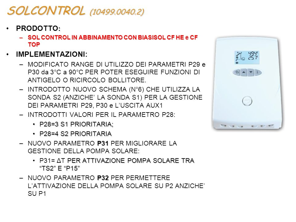 SOLCONTROL (10499.0040.2) PRODOTTO: IMPLEMENTAZIONI: