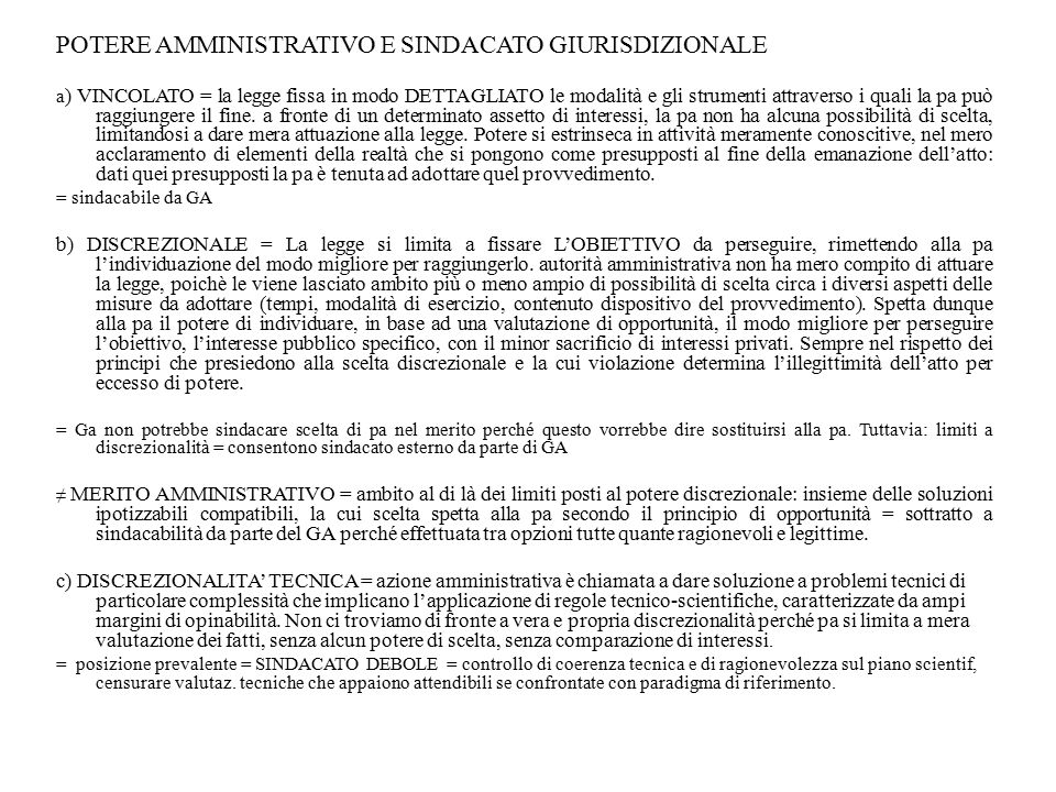 POTERE AMMINISTRATIVO E SINDACATO GIURISDIZIONALE