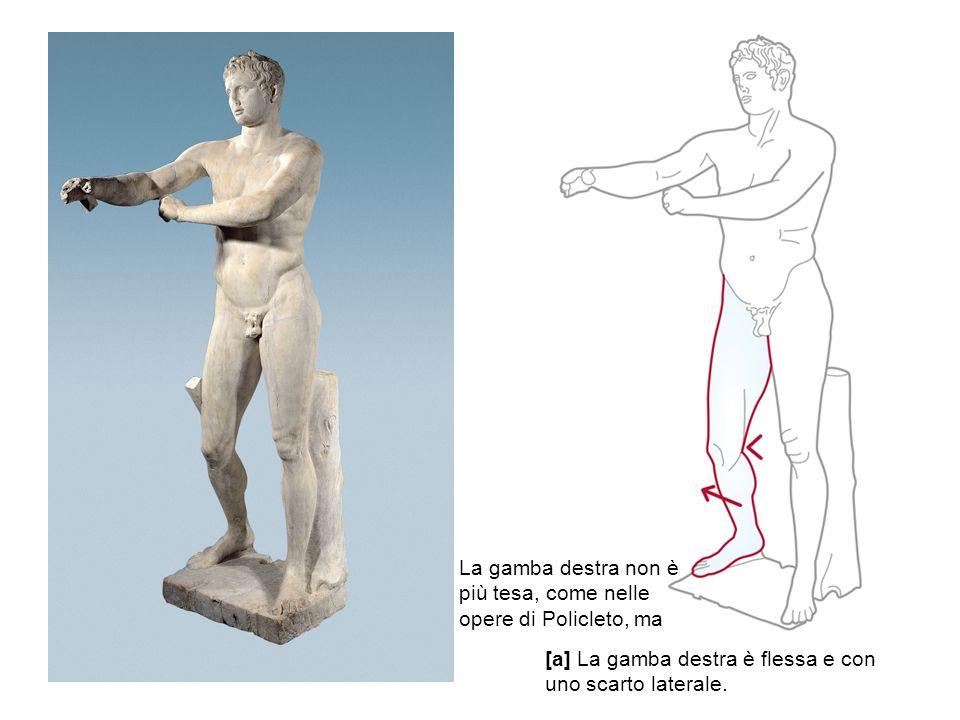 La gamba destra non è più tesa, come nelle opere di Policleto, ma