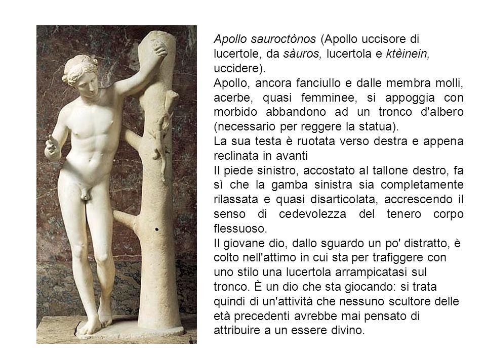 Apollo sauroctònos (Apollo uccisore di lucertole, da sàuros, lucertola e ktèinein, uccidere).