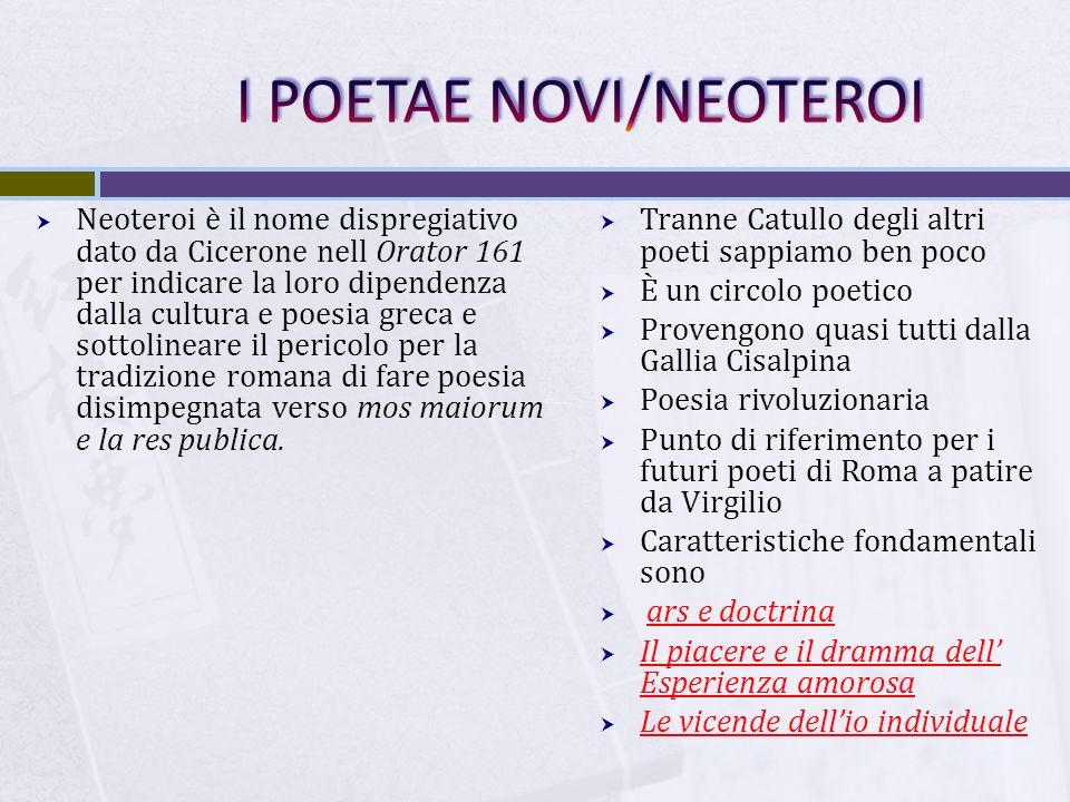 I POETAE NOVI/NEOTEROI