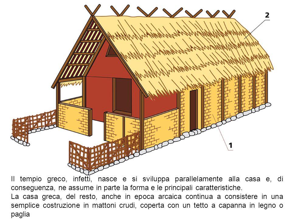 Il tempio greco, infetti, nasce e si sviluppa parallelamente alla casa e, di conseguenza, ne assume in parte la forma e le principali caratteristiche.