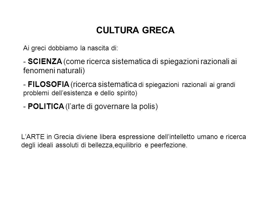 CULTURA GRECA Ai greci dobbiamo la nascita di: SCIENZA (come ricerca sistematica di spiegazioni razionali ai fenomeni naturali)
