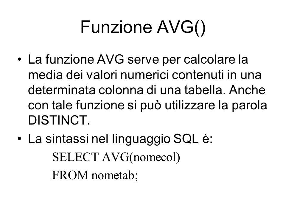 Funzione AVG()