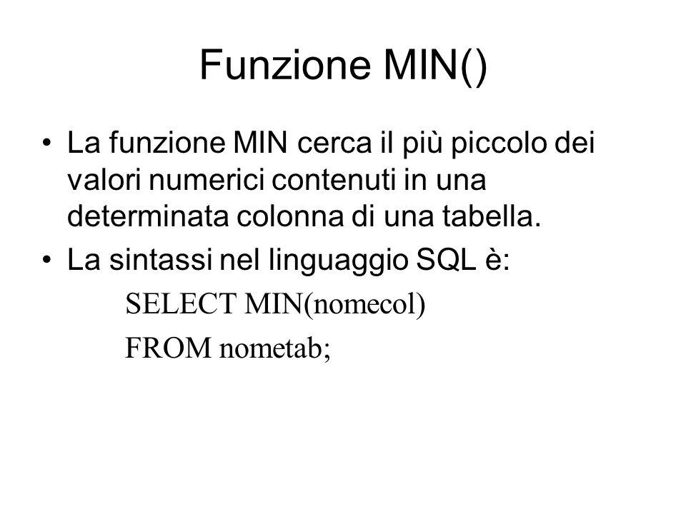 Funzione MIN() La funzione MIN cerca il più piccolo dei valori numerici contenuti in una determinata colonna di una tabella.