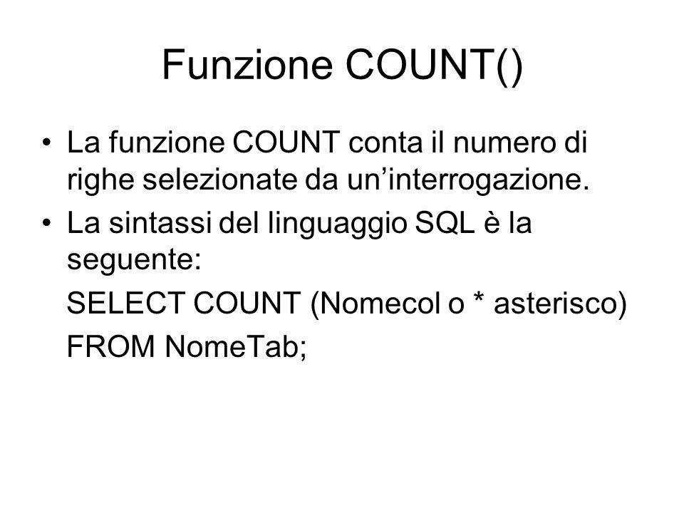Funzione COUNT() La funzione COUNT conta il numero di righe selezionate da un'interrogazione. La sintassi del linguaggio SQL è la seguente: