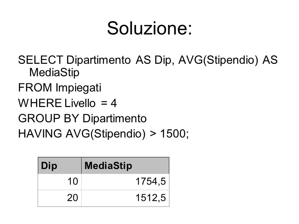 Soluzione: SELECT Dipartimento AS Dip, AVG(Stipendio) AS MediaStip