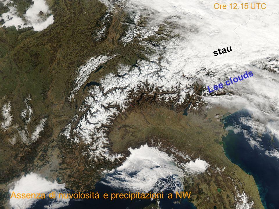 Assenza di nuvolosità e precipitazioni a NW