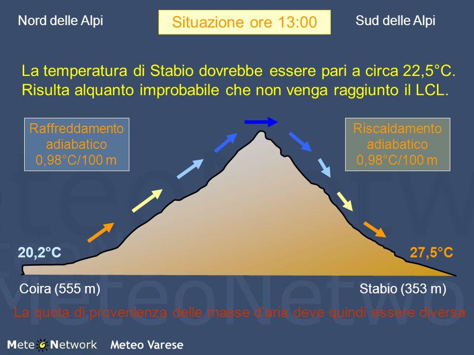 Nord delle Alpi Situazione ore 13:00. Sud delle Alpi.