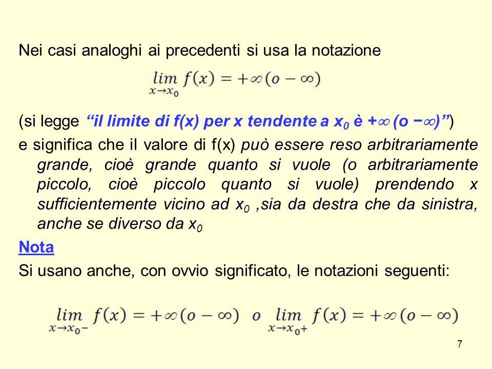 Nei casi analoghi ai precedenti si usa la notazione