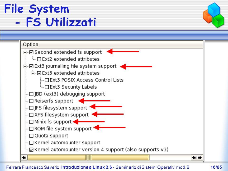 File System - FS Utilizzati