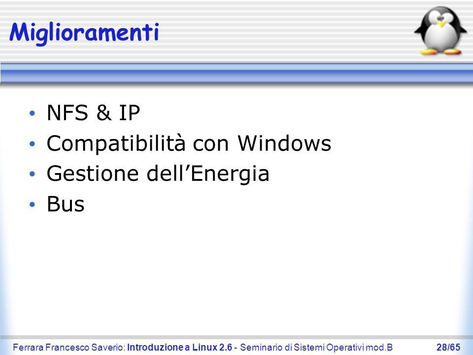 Miglioramenti NFS & IP Compatibilità con Windows Gestione dell'Energia