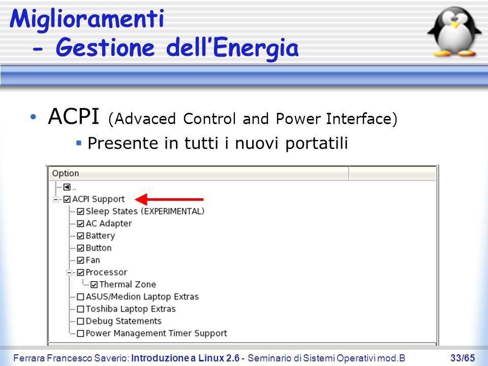 Miglioramenti - Gestione dell'Energia