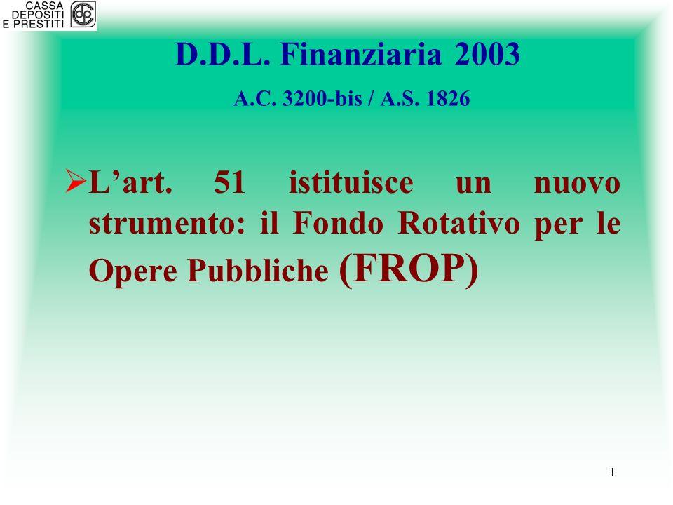 D.D.L. Finanziaria 2003 A.C. 3200-bis / A.S. 1826